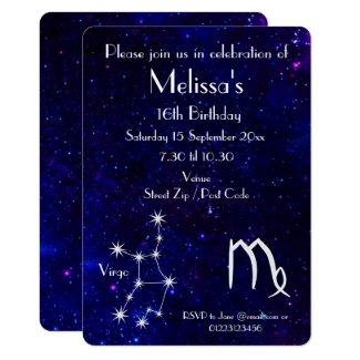 Personalized Zodiac Virgo Galaxy Party Invitation