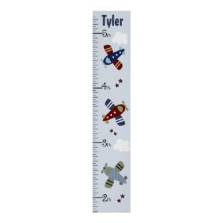 Personalized Zoom Along Airplanes Growth Chart Print