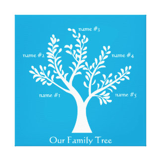 PersonalTrees Bright Blue Family Tree Canvas Gallery Wrap Canvas