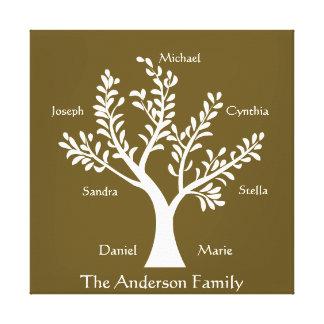 PersonalTrees Dark Khaki Family Tree Canvas Print