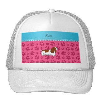 Personalzied name cocker spaniel pink paws mesh hat