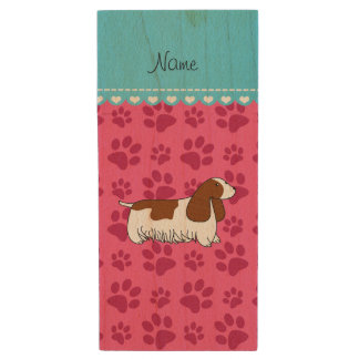 Personalzied name cocker spaniel pink paws wood USB 2.0 flash drive