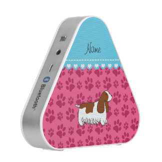 Personalzied name cocker spaniel pink paws bluetooth speaker