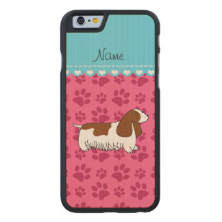 Personalzied name cocker spaniel pink paws carved® maple iPhone 6 case