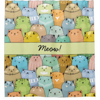 Personilized Super Cute Cat Shower Curtain