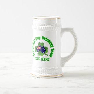 Personlalized  Irish Australian St Patrick's day Beer Stein