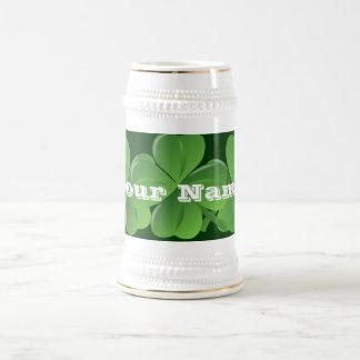 Personlalized  Irish shamrocks Beer Stein