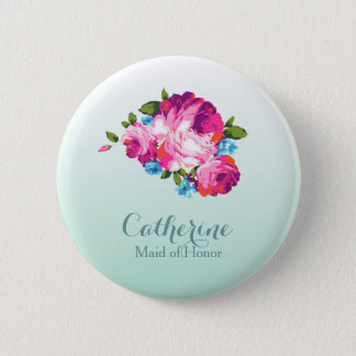 Personlised Bright Floral Mint Ombre Badges