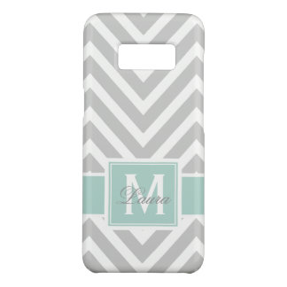 Personlized Mint Green Monogram Gray Chevron Case-Mate Samsung Galaxy S8 Case