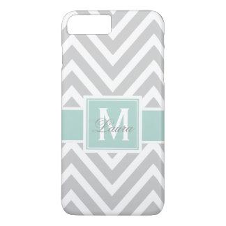 Personlized Mint Green Monogram Gray Chevron iPhone 8 Plus/7 Plus Case