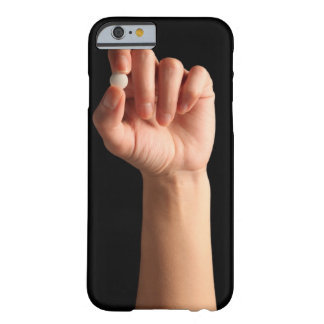 Persons hand holding a white pill between the barely there iPhone 6 case