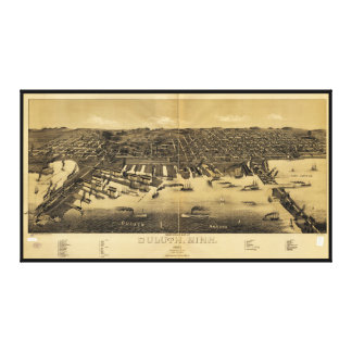 Perspective Map of Duluth Minnesota (1887) Canvas Prints