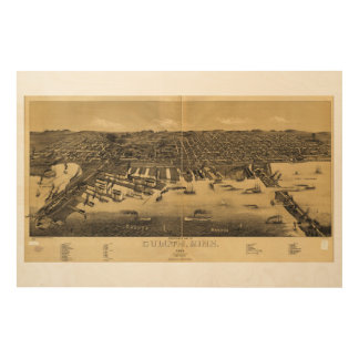 Perspective Map of Duluth Minnesota (1887) Wood Prints
