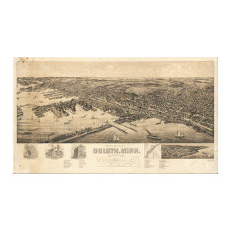 Perspective Map of Duluth Minnesota (1893) Stretched Canvas Print