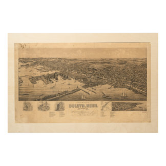 Perspective Map of Duluth Minnesota (1893) Wood Canvases