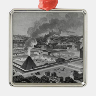 Perspective view of a canon forge christmas ornament
