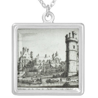 Perspective view of the Tour de Nesle Silver Plated Necklace