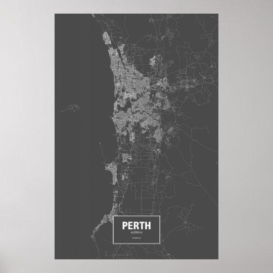 Perth, Australia (white on black) Poster