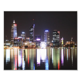 Perth City, Night Skyline, Austraila 10 x 8- Print