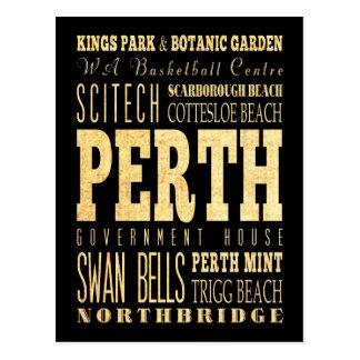 Perth City of Australia Typography Art Postcard