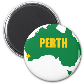 Perth Green and Gold Map Refrigerator Magnet