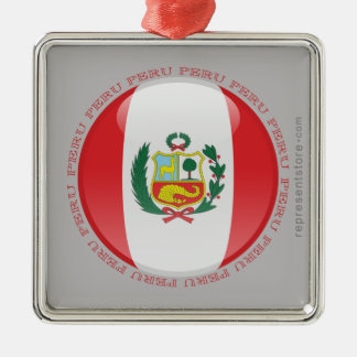 Peru Bubble Flag Christmas Ornament