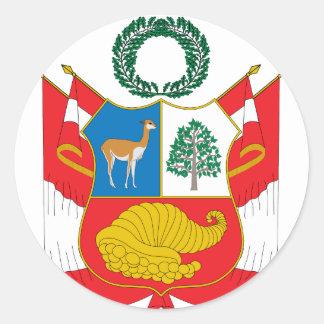 Peru Coat Of Arms Classic Round Sticker