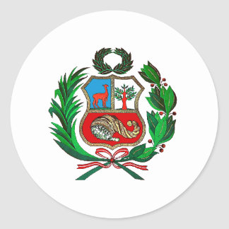 Peru coat of arms classic round sticker