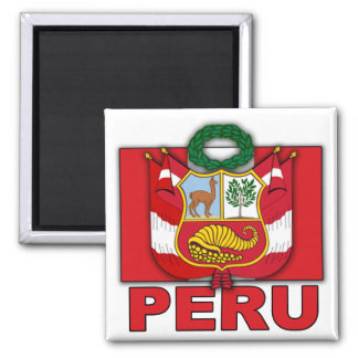 Peru Coat of Arms Square Magnet
