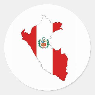 peru country flag shape map symbol classic round sticker