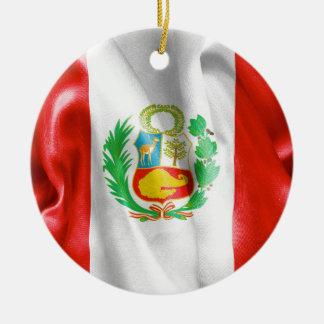 Peru Flag Ceramic Ornament