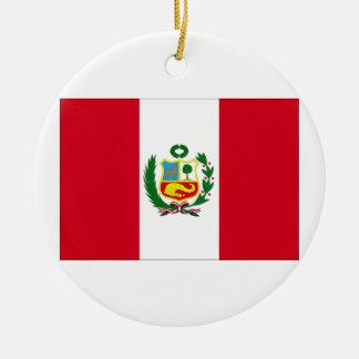 Peru Flag Round Ceramic Decoration