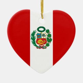 Peru Flag Heart Christmas Ornament