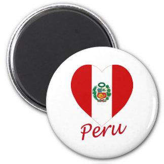 Peru Flag Heart Magnet