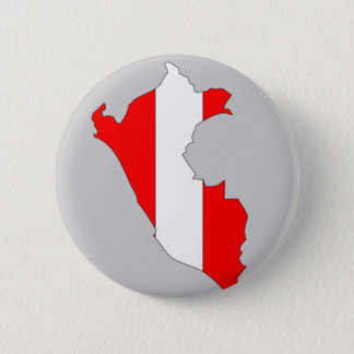 Peru flag map 6 cm round badge
