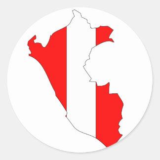 Peru flag map classic round sticker