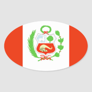 Peru Flag Oval Sticker