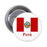 Peru Flag with Name in Spanish 6 Cm Round Badge