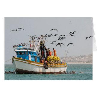 Peru, Los Organos. Fishing Boat In Los Organos Card