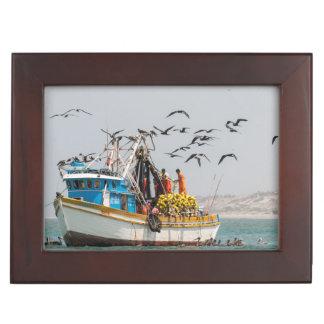 Peru, Los Organos. Fishing Boat In Los Organos Keepsake Box