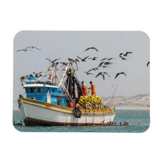 Peru, Los Organos. Fishing Boat In Los Organos Magnet
