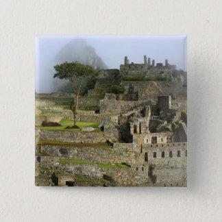 Peru, Machu Picchu. The ancient citadel of 15 Cm Square Badge