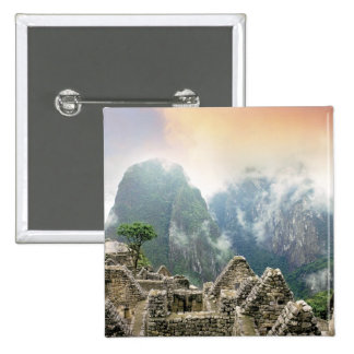 Peru, Machu Picchu, the ancient lost city of 15 Cm Square Badge