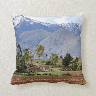 Peru, Maras. Landscape Above The Sacred Valley Cushion