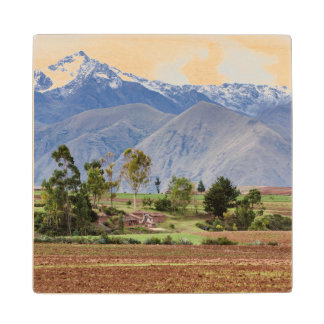 Peru, Maras. Landscape Above The Sacred Valley Wood Coaster