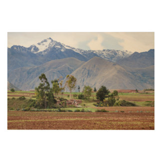 Peru, Maras. Landscape Above The Sacred Valley Wood Print