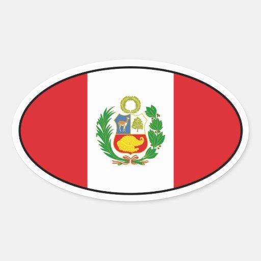 Peru State Flag Oval Sticker