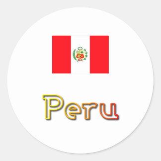 Peru sunset round stickers