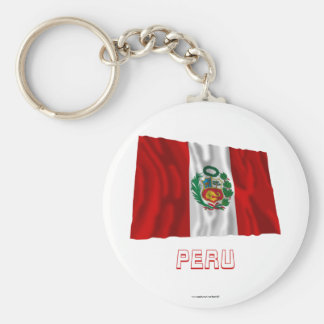 Peru Waving Flag with Name Key Ring