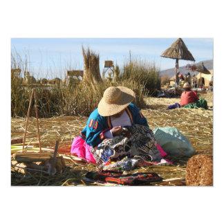 "Peru Woman Sewing Embroidery 5.5"" X 7.5"" Invitation Card"